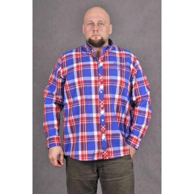 KITARO 131711-206 Kék-piros férfi hosszú ujjú ing