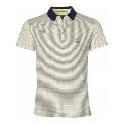 No Excess 76 320183 037 Galléros fehér-kék mintás férfi póló